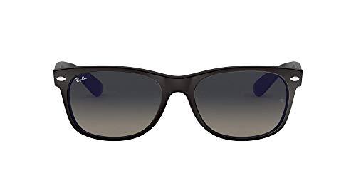 Ray-Ban Unisex New Wayfarer Sonnenbrille, Mehrfarbig (Gestell: Schwarz/Blau, Gläser: Grau Verlauf 618371), Large (Herstellergröße: 55)