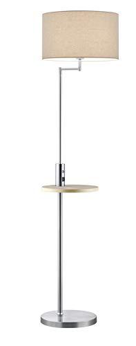 Trio Leuchten 400400107 Claas - Lámpara de pie (metal níquel mate, pantalla de tela blanca, estante de madera, no incluye 1 bombilla E27)