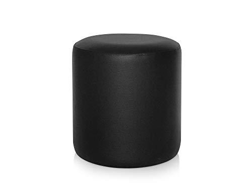 moebel-eins POUFI Hocker rund Pouf Polsterhocker Sitzhocker Sitzwürfel Fußhocker Kunstleder, schwarz