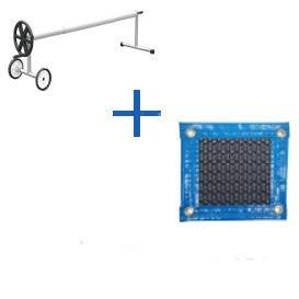 International Pool Protection Couverture Thermique de 500 microns New Energy avec Renfort en Tout Le Contour + Enrouleur télescopique de 81 mm 8 x 6m