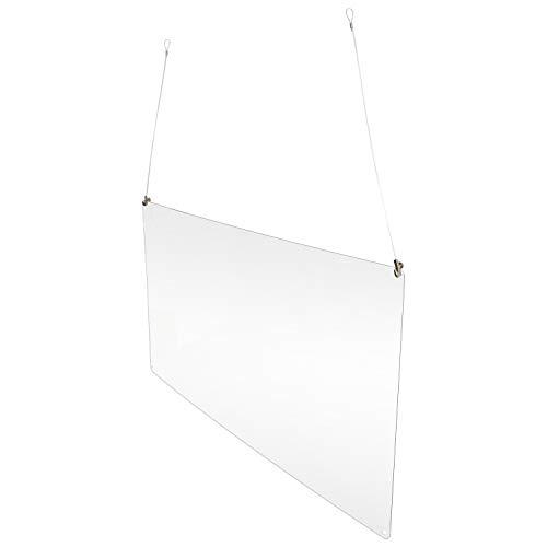 Betriebsausstattung24® Spuckschutz zum hängen | Acrylglas | Hustenschutz | Virenschutz aus Lexan 100,0 x 60,0 cm Lexan 2mm