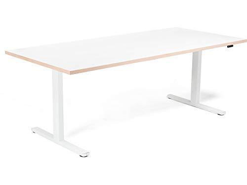 Modulor Set aus Tischgestell T und Tischplatte, von 70 bis 120 cm elektrisch höhenverstellbarer Schreibtisch aus Stahl mit Tischplatte 90 x 180 cm, weiß