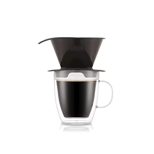 BODUM K11872-451SSA-Y21 POUR OVER Gotero de café y taza doble pared, 0,3l