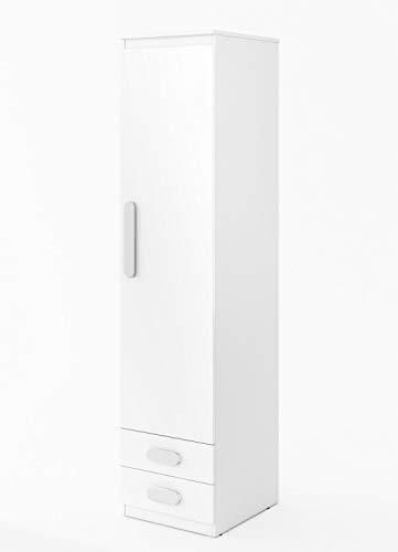 Furniture24 Schrank Replay RP04, Hochschrank, 1 Türiger Drehtürenschrank mit 3 Einlegeboden für Jugend und Kinderzimmer (Weiß/Weiß Hochglanz/Weiß)