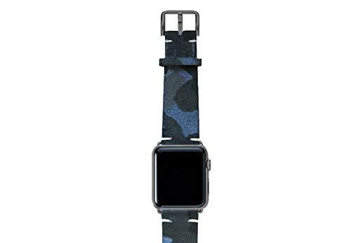 Correa de piel para reloj iOS con acabado de algodón 100% fabricado en Italia, 44, aluminio, color gris