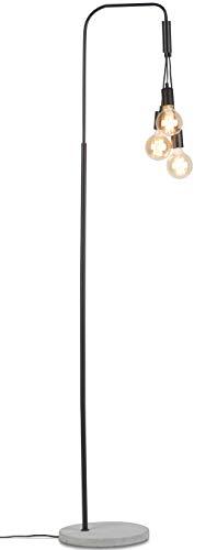 Oslo-Stehleuchte im Vintage-Look | Für 3 Glühbirnen (E27, 60W, normal / LED) | 1,90 m hoch | dimmbar | Schwarzes Eisen, grauer Zementsockel