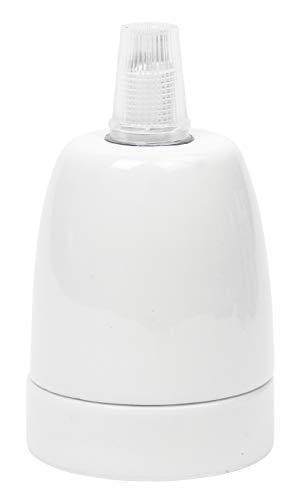 Portalampada in Porcellana (ceramica di alta qualità) per lampadine LED/ con Filo E27, Colore: Bianco, Fino a 100 W, incl. Pressacavo, ad esempio per luci a sospensione, moderno
