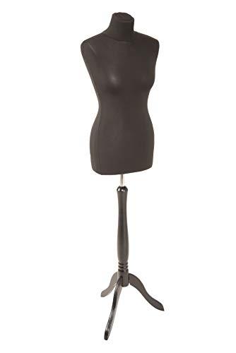 fella4stores Basic Damen-Schneiderpuppe schwarz mit Holz-Dreibein schwarz 34/36 (XS)