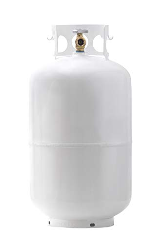 Flame King MT301 Mr. Tank 30 LB Pound Steel Propane Cylinder with Type 1 OPD Valve, White Connectors Grill Hoses