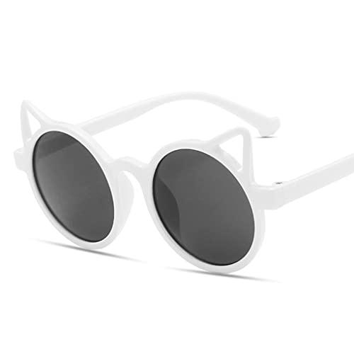 kemelo Gafas de Sol de Dibujos Animados para niños Personalidad de Moda Orejas de Gato Lindas Gafas de protección UV, Caja de Gafas de Sol, Blanco