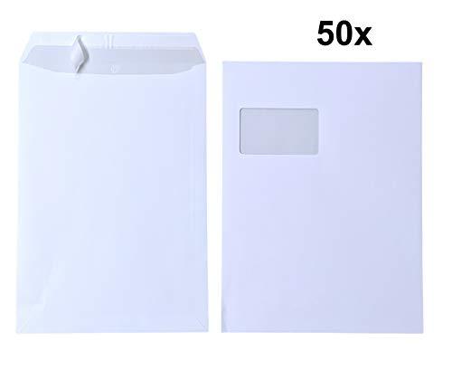 50 buste formato C4 A4 con finestra, autoadesive, con stampa interna grigia, 120 g/m², dimensioni 229 x 324 mm, colore: Bianco