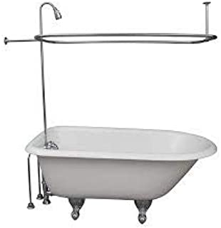 """My PlumbingStuff R2200A Clawfoot Tub Shower Faucet and Rectangular Combo Set - 3 ⅜-Inch Center-Diverter Faucet in Chrome - ¾"""" MIP Connections - 61"""" 2-Piece Riser with Shower Head -42"""" x 27"""" Shower Rod"""