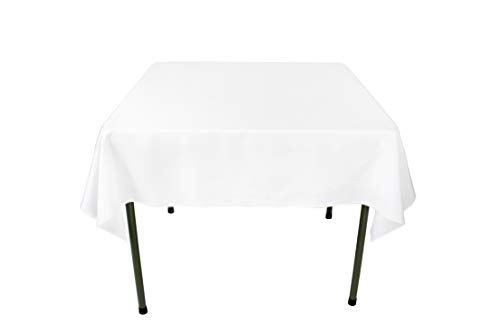 GEFEII Kitchen 54 inch Square Tablecloth Solid Polyester White Tablecloths for Wedding Party Restaurant Banquet Dining Buffet Table Picnic Decorations (Square-54x54 inch, White)