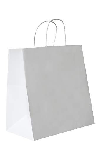 Carte Dozio - Lote de 50 bolsas de papel kraft con fondo cuadro, color blanco, asa retorcida, 27 x 17 x 29 cm