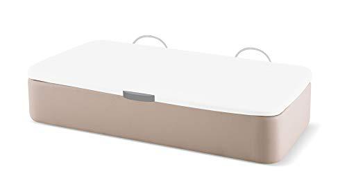 Naturconfort Canapé Abatible Ecopel Hielo Premium Tapizado Apertura Lateral Tapa 3D Blanca 80x180cm Envio y Montaje Gratis