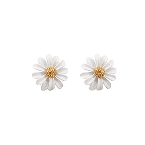 YFZCLYZAXET Pendientes Mujer Pendientes De Flores De Temperamento Blanco Pendientes Casuales De Moda Pendientes De Aguja De Plata 925 Femeninos-1