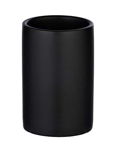 WENKO Vaso higiene dental Polaris negro mate - Soporte para cepillos de dientes, para cepillos y pasta de dientes, Cerámica, 7 x 11 x 7 cm, Negro
