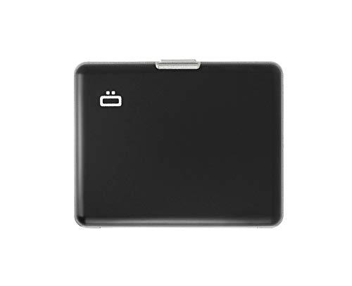 Ögon Smart Wallets - Cartera de Aluminio Big Stockholm - Tarjetero RFID antirrobo - Capacidad 10 Tarjetas y Billetes (Negro / Interior Gris)