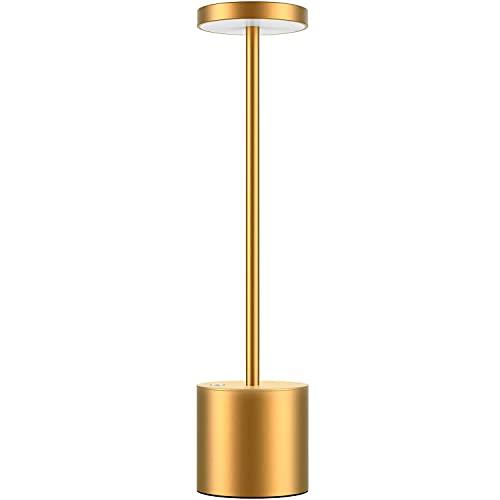 Lámpara de mesa inalámbrica, LED recargable 6000 mAh lámpara de mesa, lámpara de mesilla de noche de metal de aluminio, apta para dormitorio/estudio/comedor (dorado)