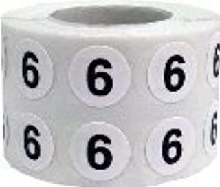 White Circle with Black Number 6 Stickers, 1/2 Inch Round, 1000 Labels on a Roll