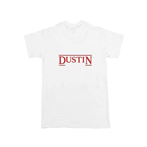 Stranger Things Dustin T Shirt a testa in giù Netflix Retro Top Unisex CAST Hawkins Regalo bianco XXL