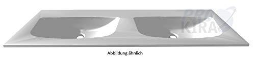 PELIPAL 6025 Mineralmarmor Doppelwaschtisch, Weiß / MMDWT70-1320-W/B: 132 cm