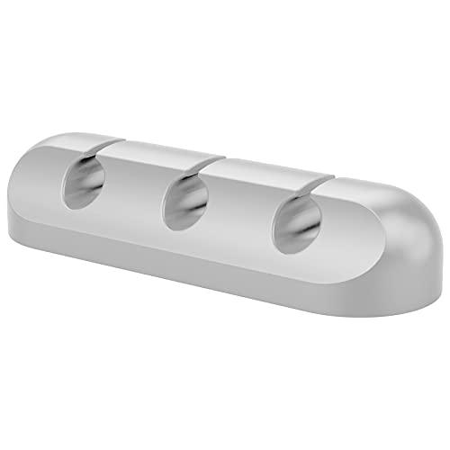 wojonifuiliy Kabelhalter Selbstklebender Kopfhörer-Ladekabelklemme Kabelfixierer - Kabel Clip Organizer für Schreibtisch, Netzkabel, USB Ladekabel, Audiokabel, Ladekabeln usw.(3 Löcher) (Grau, 3PC)