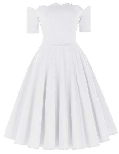 PAUL JONES Women's 50s White Off Shoulder Swing Dress Short Sleeve Knee-Length Cocktail Dress