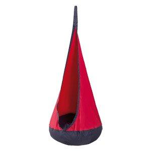97220 Hängesack Roba, Tropfenform, mit aufblasbarem Kissen (Navy/ Rot)