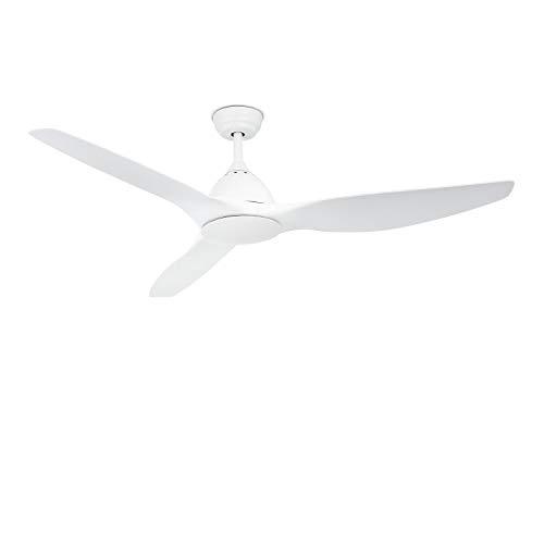 IKOHS Create UPWIND Sail - Ventilador de Techo con Mando a Distancia, 3 Aspas, Potencia de 90W, Ultrasilencioso, 163 cm de Diametro, 3 Velocidades (Blanco Mate)