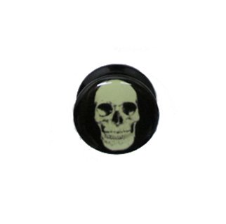 Gekko de piercings para el cartílago brilla en la oscuridad Logo en la parte superior de calavera de cúpula de acrílico enchufe de tornillo-fit/Auriculares de Camilla - 24 mm