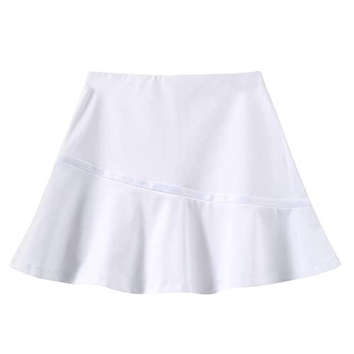 GRANDWISH Girls Sport Skort, Girls Athletic Performance Skort for Golf, Tennis, Running, 10 White