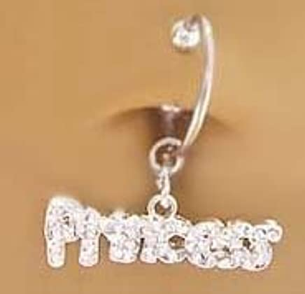 Amazon Com Fake Belly Navel Non Clip On Piercing Cz Paved Princess