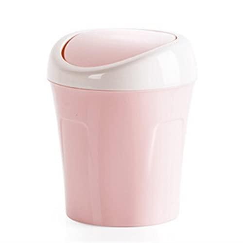 Roki-X con la Tapa de Swing Mini Desktops Basura Puede diminuta Papelera for Escritorio pequeño encimera Basura Papel de Mesa o Mesa de café tocador de baño (Color : Pink)