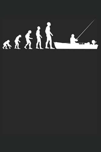 Angler Angeln Fischer Angelboot Evolution Geschenk Notizbuch (Taschenbuch DIN A 5 Format Liniert): Lustiges Angler Geschenk Notizheft, Schreibheft, ... die vom Boot angeln. Fischerboot Motiv.