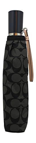 Coach Signature Umbrella w/Leather Wrist Strap, F63364, Silver/Black Grey/Black, One_Size