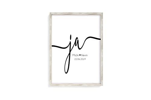 Ja Kunstdruck personalisiert mit Namen und Datum A4 oder A3 ungerahmt als Geschenk-Idee zur Hochzeit...