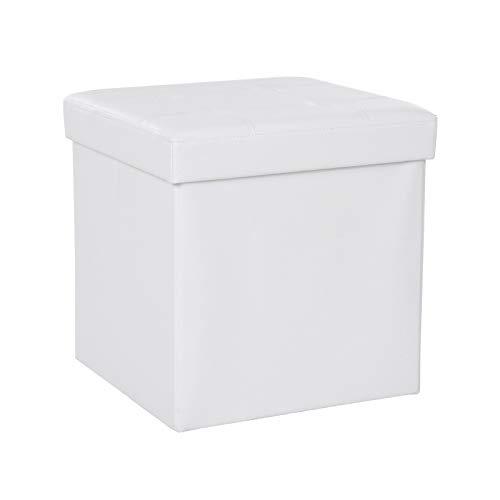 SONGMICS Taburete Plegable, Asiento, Caja de Almacenamiento con Asas, Soporta hasta 300 kg, Piel sintética, Profundidad de 38 cm, Blanco LSF30W