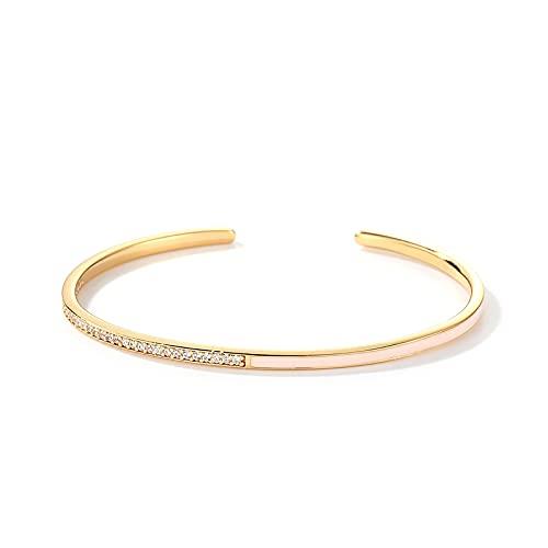 Pulseras para mujer S925 plata esterlina 9K chapado en oro blanco circonio abierto pulsera