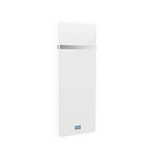 Klarstein Hot Spot Crystal IR hocheffizientes Infrarot-Heizpanel, programmierbarer Wochentimer, superflach, Thermostat, IR Comfort Heat, 45 x 120 cm Heizpanel für Räume bis 20 m², Glasschicht, weiß