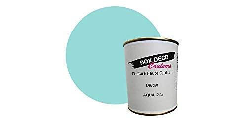 Peinture acrylique aspect satin Aqua déco - Murale - 44 couleurs - 750 ml - 7.5 m² (Bleu Lagon)