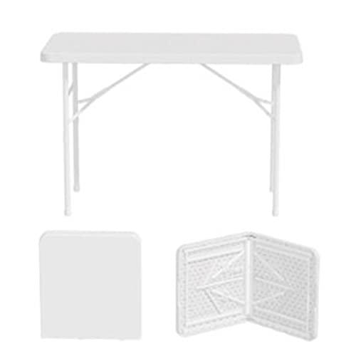 QiHaoHeji Mesa Plegable Mesa Plegable Puesta al Aire Libre Portátil Hogar Simple Rectangular Tabla Larga Aprendizaje Mesa de Comedor Mesa y Silla (Color : White, Size : 122x74x60cm)