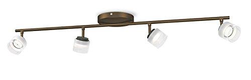 Philips myLiving Fremont - Barra de focos con 4 luces, LED, iluminación interior, luz blanca cálida, IP20, color bronce