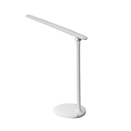Uonlytech – Lámpara de escritorio LED plegable con 3 niveles de brillo, interruptor sensible al tacto, protección ocular, lámpara de mesa recargable, lámpara de mesita de noche (blanca)