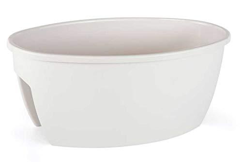 Jardinera para Barandilla de hasta 10 cm, 59x36x25 cm, Jardinera Balcón 22,5 litros (Blanco)