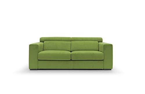 Sofá fijo de tela suave totalmente desenfundable, modelo Evoque de 3 plazas o esquinero con chaise longue derecho o izquierdo, estructura de madera, fabricado en Italia, color verde, 3 plazas