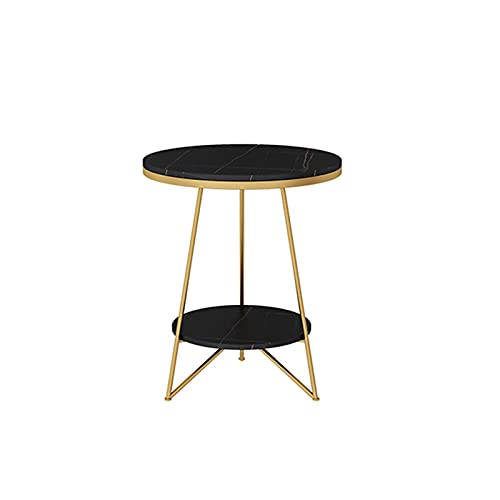 2-story Marble Round Table,Bedroom Storage Coffee Table Double End Table With Storage Multifunctional Coffee Table With Metal Frame & Marble Table Top(Size:40 * 40 * 55CM,Color:Black+Gold)