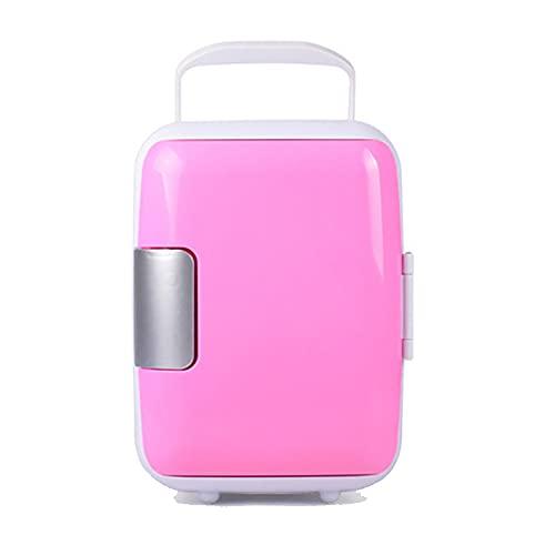 LGLE Mini refrigerador y calentador de refrigerador, portátil compacto de 4 L, ligero y portátil/bajo ruido, para el hogar, dormitorio, coche, vacaciones, alimentos, bebidas, maquillaje, rosa