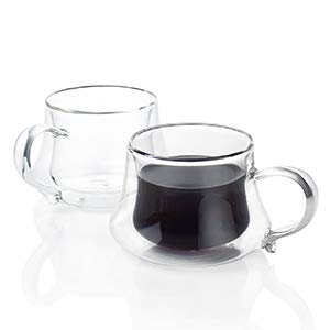 VEVOUK Juego de 2 tazas de café de vidrio con aislamiento de doble pared de 220 ml, resistentes al calor, tazas de café transparentes con asas para té, latte, capuchino, leche, zumo, día de Navidad