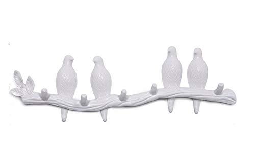 El pájaro en la rama decora la percha de pared, un llavero con un gancho, para abrigos, sombreros, llaves, toallas (3 pajaritas) (Color : 4 little birds (White))